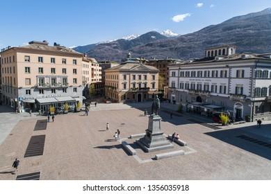 City of Sondrio, Valtellina (Italy) April 2019. Garibaldi square and people walking