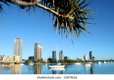 City of Southport on the Gold Coast Australia seen across the Nerang River just after sunrise.