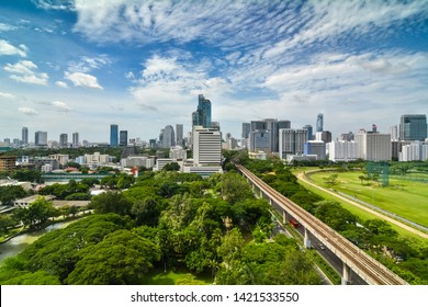 City space of accommodations, office building, condominiums and hotels in business area around BTS skytrain, sukhumvit road., Ratchaprasong Intersection of bangkok in thailand.