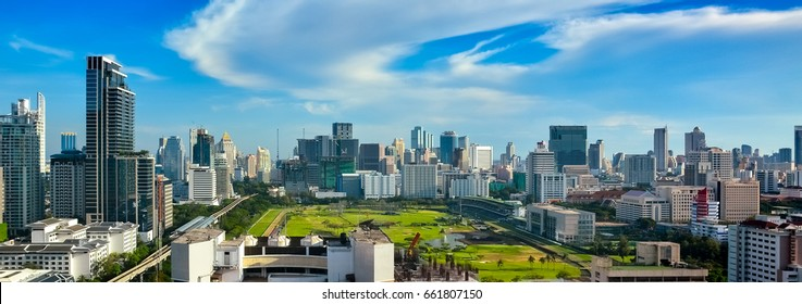 City space of accommodations, office building, condominiums and hotels in business area around sukhumvit road., Ratchaprasong Intersection of bangkok in thailand.