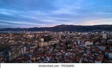The city Split in Croatia, Europe at dawn