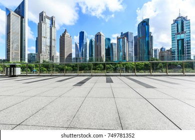 City square and commercial financial district building scenery in Shanghai,China
