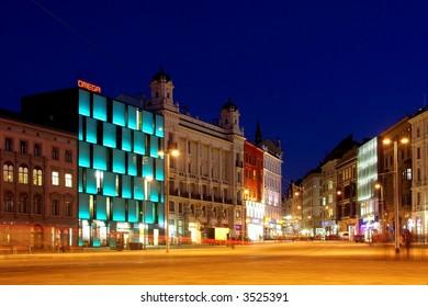 City square at night