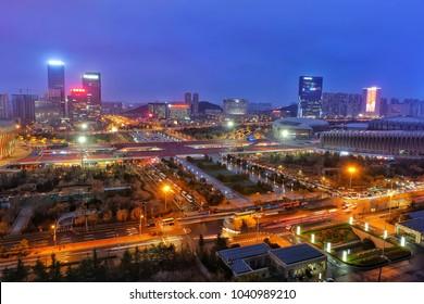 city square night view