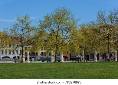 City Square and park with canal in Padua, Italy Captured during Good friday April 2015
