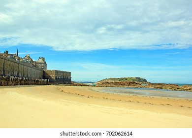 City of St Malo at low tide (Brittany France)