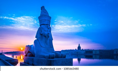 The city of St. Petersburg. Sphinx on the Neva River. White nights in St. Petersburg. Museums of Russia. St. Isaac's Cathedral in St. Petersburg. Russian Federation city Petersburg.