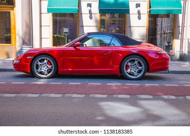 City Stocholm, Sweden. Exclusive Porche car at street. Urban city view.  Travel photo 2018