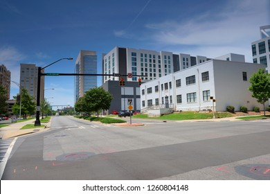 City Street Building View, View on the Road, Charlotte, Wake County, Raleigh, North Carolina, USA