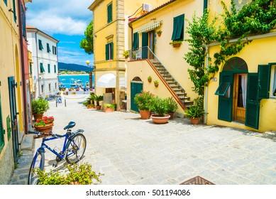 City street in Marina di campo, Elba Island, Tuscany, Italy.