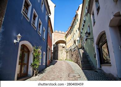 City street of Meissen in Germany