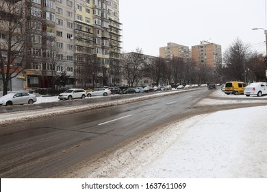 City street on winter time