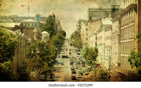 city street - picture in retro style