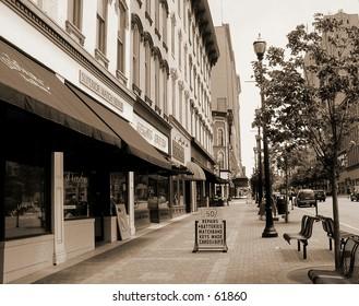 city street sepia