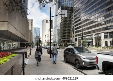 City Street View, Downtown of Montreal, Quebec, Canada