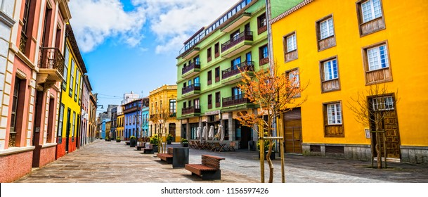 City street view in La Laguna town on Tenerife, Canary Islands. Spain.