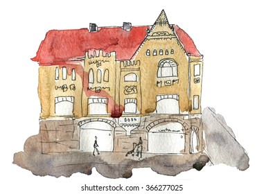 City Street  Watercolor Illustration