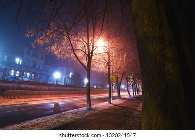 City street at the Winter, city Kolín, Czech republic,