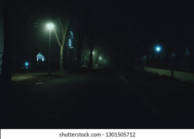 City streets at night / fog