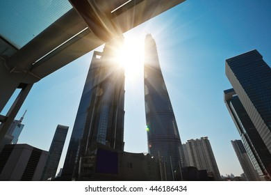 City streetscape office buildings backgrounds in shanghai Lujiazui
