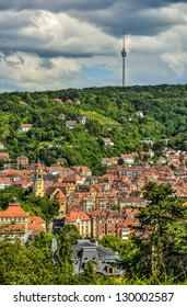 The CIty of Stuttgart, Germany on a cloudy afternoon