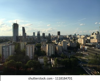 City in The Summer. Sunset. Warsaw. Poland. Europe.