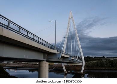 City of Sunderland, Tyne & Wear, England, September 22nd 2018. The long awaited Northern Spire Bridge now open in Sunderland over the river Wear