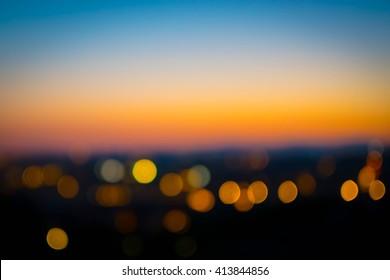 City sunset bokeh