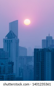 city in sunset in China
