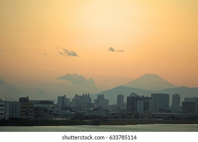 City sunset with Fuji mountain