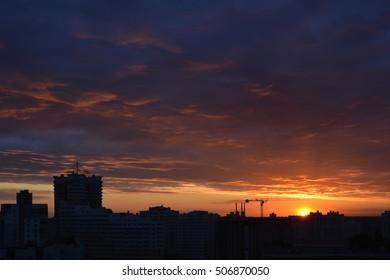 City sunset, Minsk