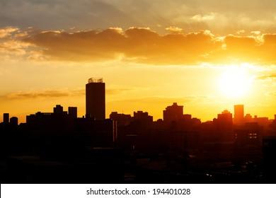 City sunset Sillohette