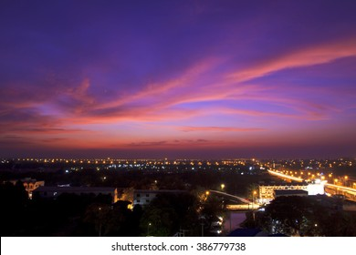 City at the sunset with twilight sky background landscape with long exposure car light and beautiful cloud