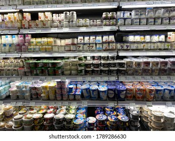 CITY SUPER, SHATIN, HONG KONG ON 12TH JULY 2020. Variety of yogurts, yogurts drinks, and other healthy drinks etc are displayed neatly on fridge shelves for sales in a supermarket