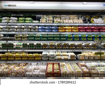 CITY SUPER, SHATIN, HONG KONG ON 12TH JULY 2020. Variety types of eggs are displayed on fridge shelves for sales in the supermarket