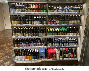 CITY SUPER, SHATIN, HONG KONG ON 12TH JULY 2020. variety brands of craft beers are displayed on shelves for sales in a supermarket
