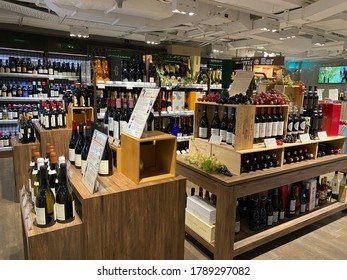 CITY SUPER, SHATIN, HONG KONG ON 12TH JULY 2020.  variety types of bottles wines are displayed on shelves for sales in a supermarket