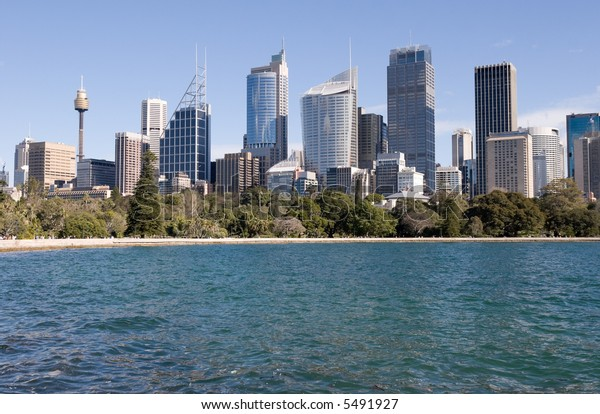 City of Sydney and in the foreground the Botanical Gardens