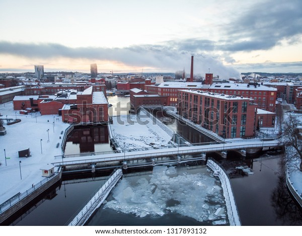 The city of Tampere is located between two lakes, Näsijärvi and Pyhäjärvi. Between those lakes are Tammerkoski rapids and it goes directly from city center