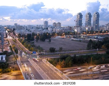 City of Tel Aviv at dusk