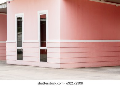 In the city there is a pink outdoor area