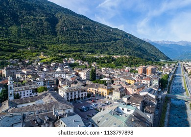 City of Tirano and Adda river in Valtellina, aerial shot