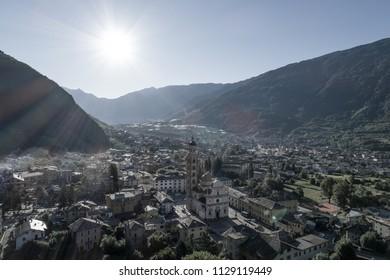 City of Tirano, panoramic view. Valtellina