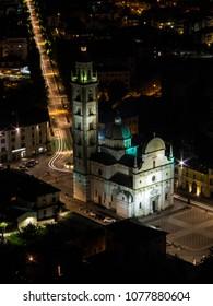 City of Tirano, Sanctuary of the Madonna of Tirano. Tourists attraction near station of Bernina Express