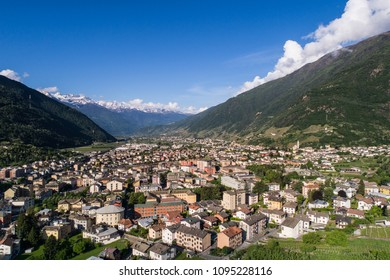 City of Tirano, Valtellina. Panoramic view