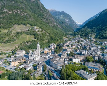 City of Tirano in Valtellina and valley of Poschiavo. Aerial view