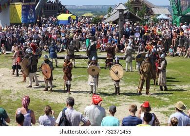 "City of Tobolsk, Tyumen region, Russia, July 5, 2014 Circle of ancient warriors at the festival, Abalakskoe field ""Siberia."