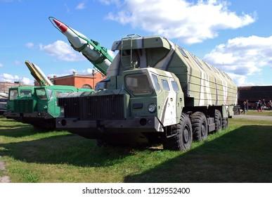 "City of Togliatti. Samara region. Russia.29 of August, 2015. Technical museum of K.G. Sakharov. An exhibit of the museum ""Mashina-obshchezhitiye"" 15T118 on the basis of the chassis of MAZ-543M"