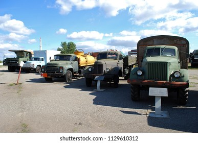 City of Togliatti. Samara region. Russia.29 of August, 2015. Technical museum of K.G. Sakharov. Exhibit of the museum Soviet MAZ-200,ZIL-164A,BELAZ-7522,ZIL-130 trucks