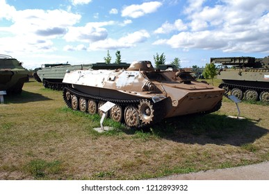 City of Togliatti. Samara region. Russia.29 of August, 2015. AVTOVAZ. Technical museum under the open sky K.G. Sakharova. Exhibit of the museum MT-LB Soviet floating armored personnel carrier